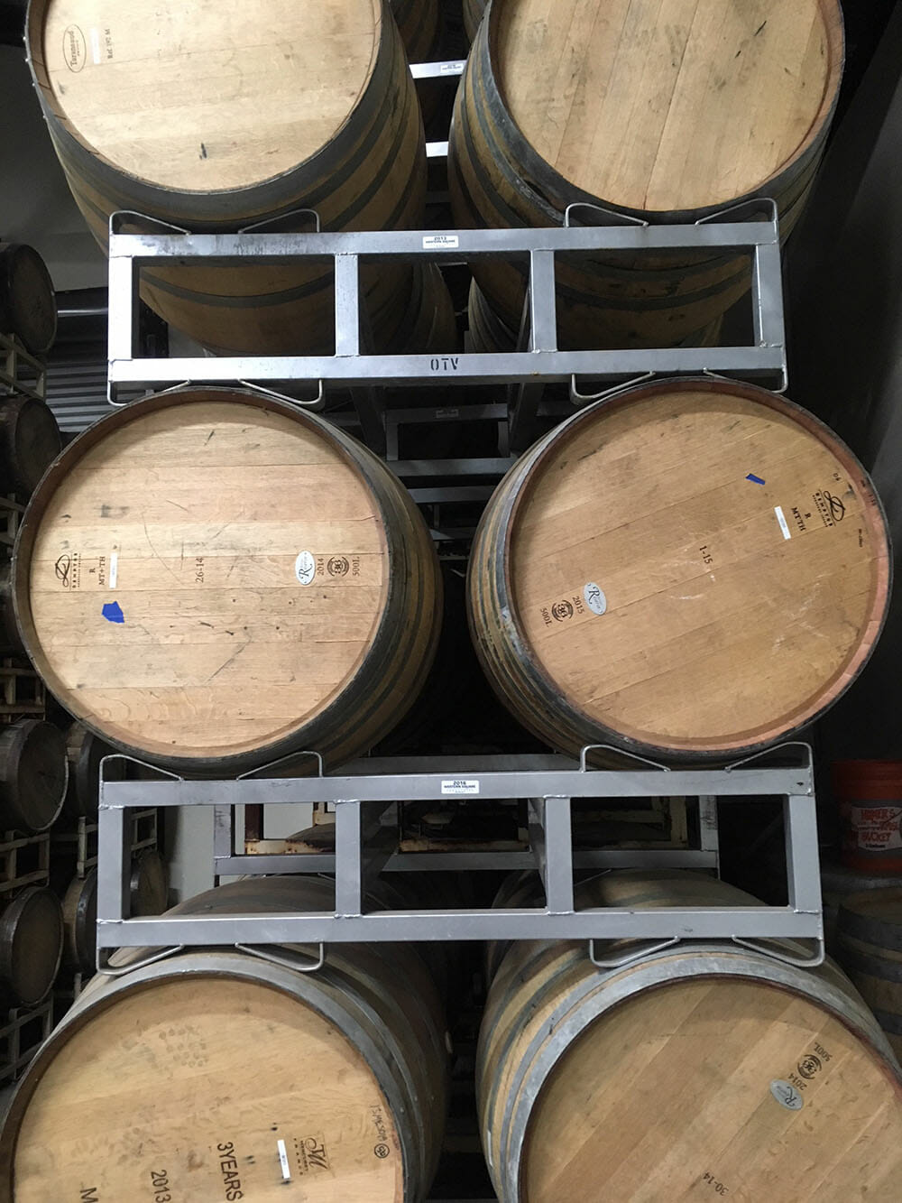 Puncheon Barrel Racks Holding Barrels