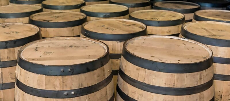 Freshly made bourbon barrels ready to be filled when they reach a distillery.
